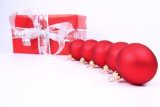 Free Christmas Balls And A Gift Background Stock Image - 16752621
