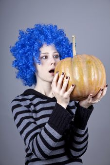 Free Funny Girl With Blue Hair Keeping Pumpkin. Stock Photos - 16752643