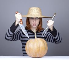 Free Funny Girl In Cap Try To Eat A Pumpkin. Royalty Free Stock Photo - 16752665