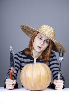 Free Funny Girl In Cap Try To Eat A Pumpkin. Royalty Free Stock Image - 16752696