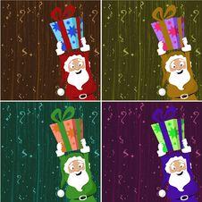 Santa Claus Holding Gift Box Stock Images