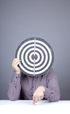 Free Boy With Dartboard In Place Of Head. Royalty Free Stock Photo - 16752965