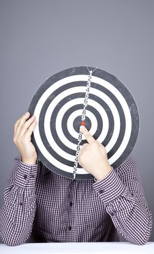 Free Boy With Dartboard In Place Of Head. Royalty Free Stock Photos - 16752968