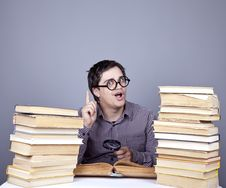 Free The Young Student With The Books Isolated. Royalty Free Stock Photography - 16752987