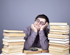 Free The Young Student With The Books Isolated. Royalty Free Stock Photo - 16753035