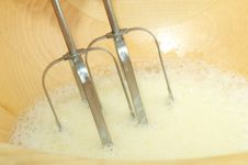 Free Beaten Eggs With Mixer Whisks Royalty Free Stock Image - 16754956