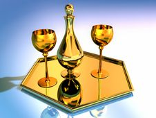 Free Golden  Goblets And Pitcher Stock Images - 16755364