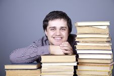 Free The Young Smiling Student With The Books Isolated. Royalty Free Stock Images - 16755709