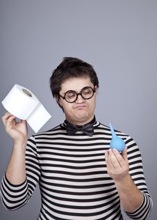 Free Funny Men Keeping Clyster And Toilet Paper. Stock Photos - 16755883