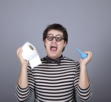 Free Funny Men Keeping Clyster And Toilet Paper. Royalty Free Stock Images - 16755889