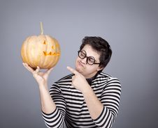 Free Funny Mad Men Kepping Pumpkin. Stock Image - 16755911