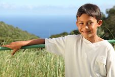 Free Young Ethnic Boy 10 Outdoor In Countryside Sun Royalty Free Stock Image - 16756346