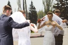 Bride And Groom By The Mirror Outdoor Stock Image