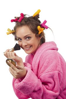 Free Woman In Pink Bath Robe Making-up Royalty Free Stock Photo - 16756575