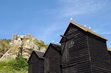 Free Fishing Huts And East Hill, Hastings Stock Photography - 16756682