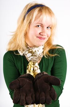 Free Blond Girl With Gloves Stock Photos - 16757563