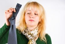 Free Girl Holding In Hands Men S Tie Royalty Free Stock Photography - 16757567