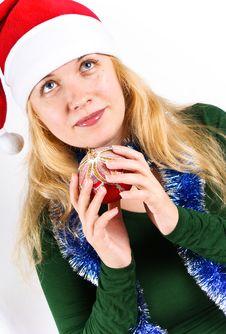 Free Christmas Ball End Beautiful Girl Royalty Free Stock Image - 16757616