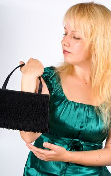 Woman With Clutch Bag Stock Photos