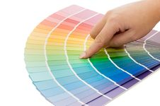 Free Woman Hand Pointing To A Sample Color Chart Royalty Free Stock Photography - 16757947