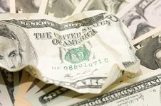 Free The Crumpled Banknote On New Dollars Royalty Free Stock Photos - 16758088