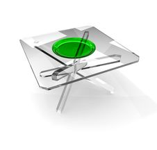 Plate On Glass Table Royalty Free Stock Photos