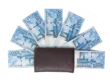 Wallet And Money Over White Royalty Free Stock Photos