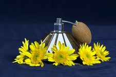 Free Vintage Perfume Sprayer With Yellow Flowers Royalty Free Stock Image - 16759996