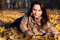Free Beautiful Young Woman Lying In Autumn Leaves Royalty Free Stock Photos - 16766248