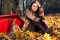 Free Beautiful Young Woman Sitting In Autumn Leaves Stock Image - 16766371