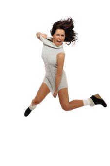 Free Dynamic Beautiful Wild Woman Jumping And Screaming Royalty Free Stock Photo - 16760265