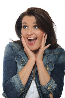 Free Expressions.Happy Smiling Casual Woman Stock Images - 16760304