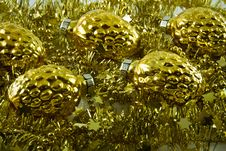 Free Golden New Year S Tree Decoration Royalty Free Stock Image - 16760356