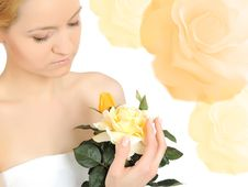 Free Beautiful Woman Holding Yellow Rose Stock Photos - 16760363