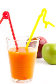 Free Orange Juice In Glass With Tow Straw Royalty Free Stock Photos - 16761438