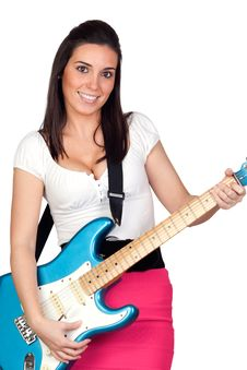 Free Attractive Girl With A Blue Electric Guitar Stock Images - 16761644