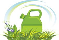 Free Petrol Canister Among Grass And Flowers Stock Photos - 16763663