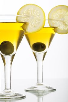 Two Glasses With Martini Royalty Free Stock Photography