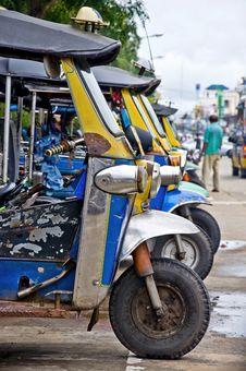 Thai Tuk Tuk Taxis Waiting For Hire Stock Image