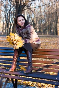 Free Beautiful Young Woman On A Bench Stock Image - 16765701