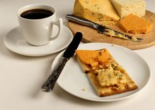 Cheee Snack And Coffee Stock Photography