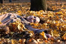 Beautiful Young Woman Lying In Autumn Leaves Royalty Free Stock Image