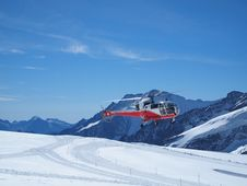 Helicopter Take-off At Jungfraujoch Switzerland Royalty Free Stock Photos