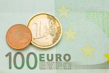 Free One Euro, One Cent On One Hundred Euro Bill Royalty Free Stock Photo - 16767045