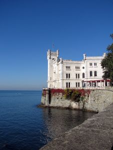 Miramare Castle - Sea Side Royalty Free Stock Image