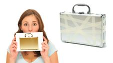 Free Beautiful Woman With Golden Briefcase Stock Image - 16769921