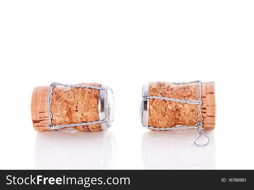 Two uncorked champagne corks