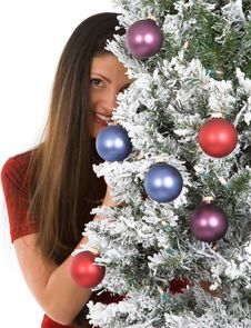 Free Woman With Holiday Tree Royalty Free Stock Photography - 16770337