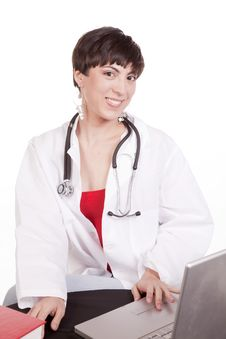 Doctor With Laptop Royalty Free Stock Photos
