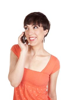 Free Talking Phone Orange Stock Photo - 16771060
